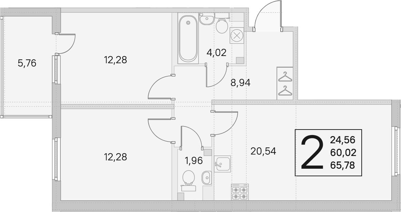 3Е-комнатная, 60.02 м²– 2