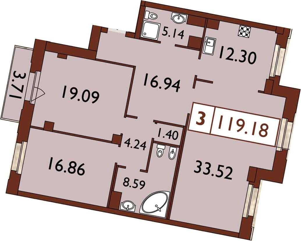 3-к.кв, 121.72 м²