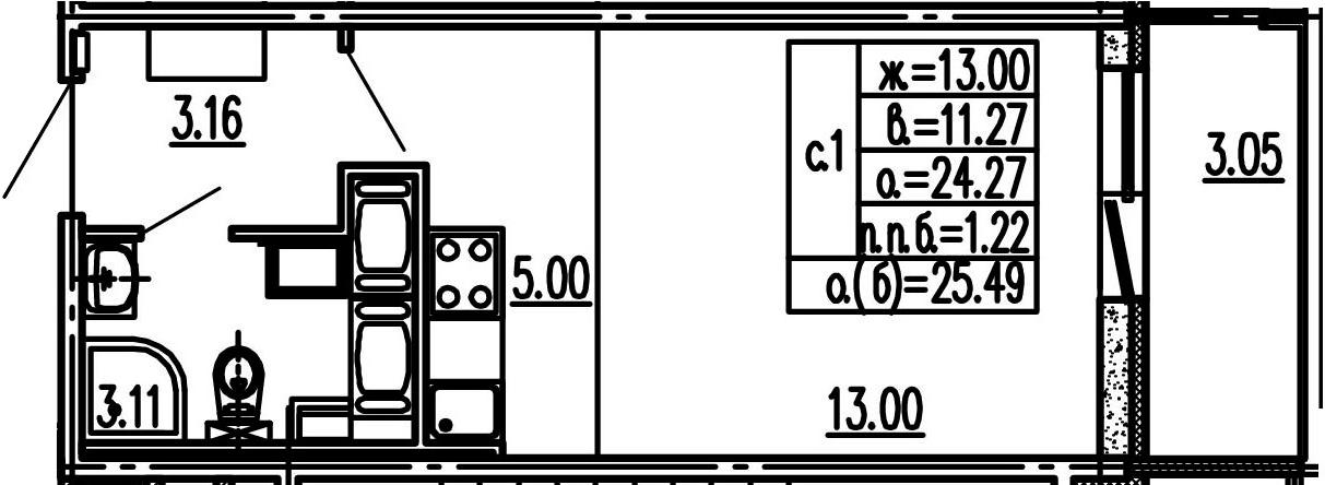 Студия, 24.27 м², 14 этаж