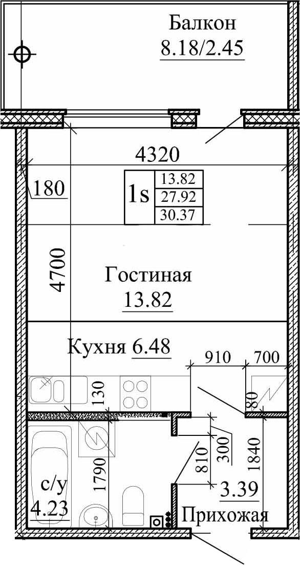 Студия, 30.37 м²– 2