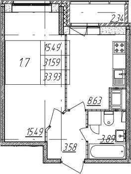 1-комнатная, 31.59 м²– 2