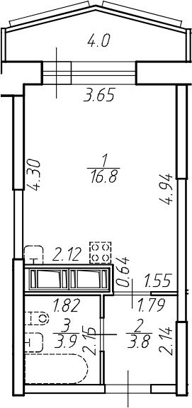 Студия, 28.5 м²