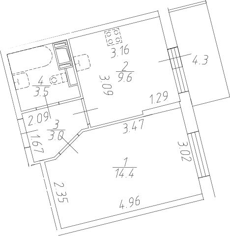 1-к.кв, 34.8 м²