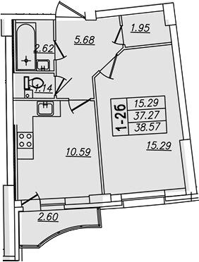 1-комнатная, 38.57 м²– 2