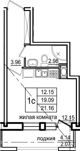 Студия, 23.23 м²