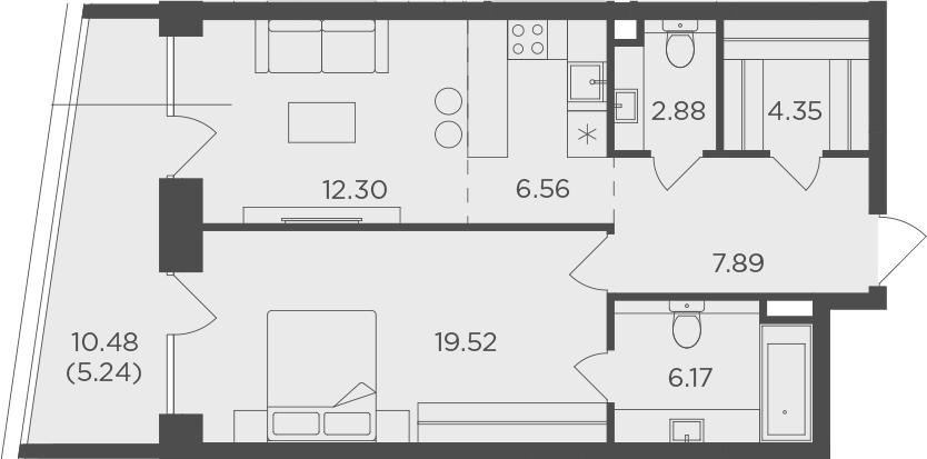 2Е-комнатная, 64.91 м²– 2
