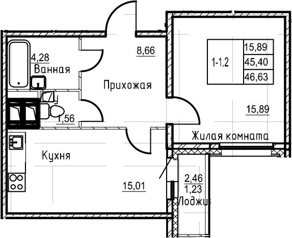 2Е-комнатная квартира, 46.63 м², 21 этаж – Планировка