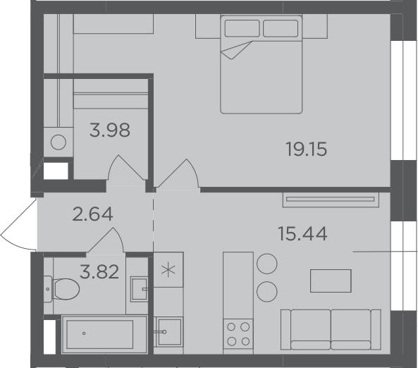 1-к.кв, 45.03 м²