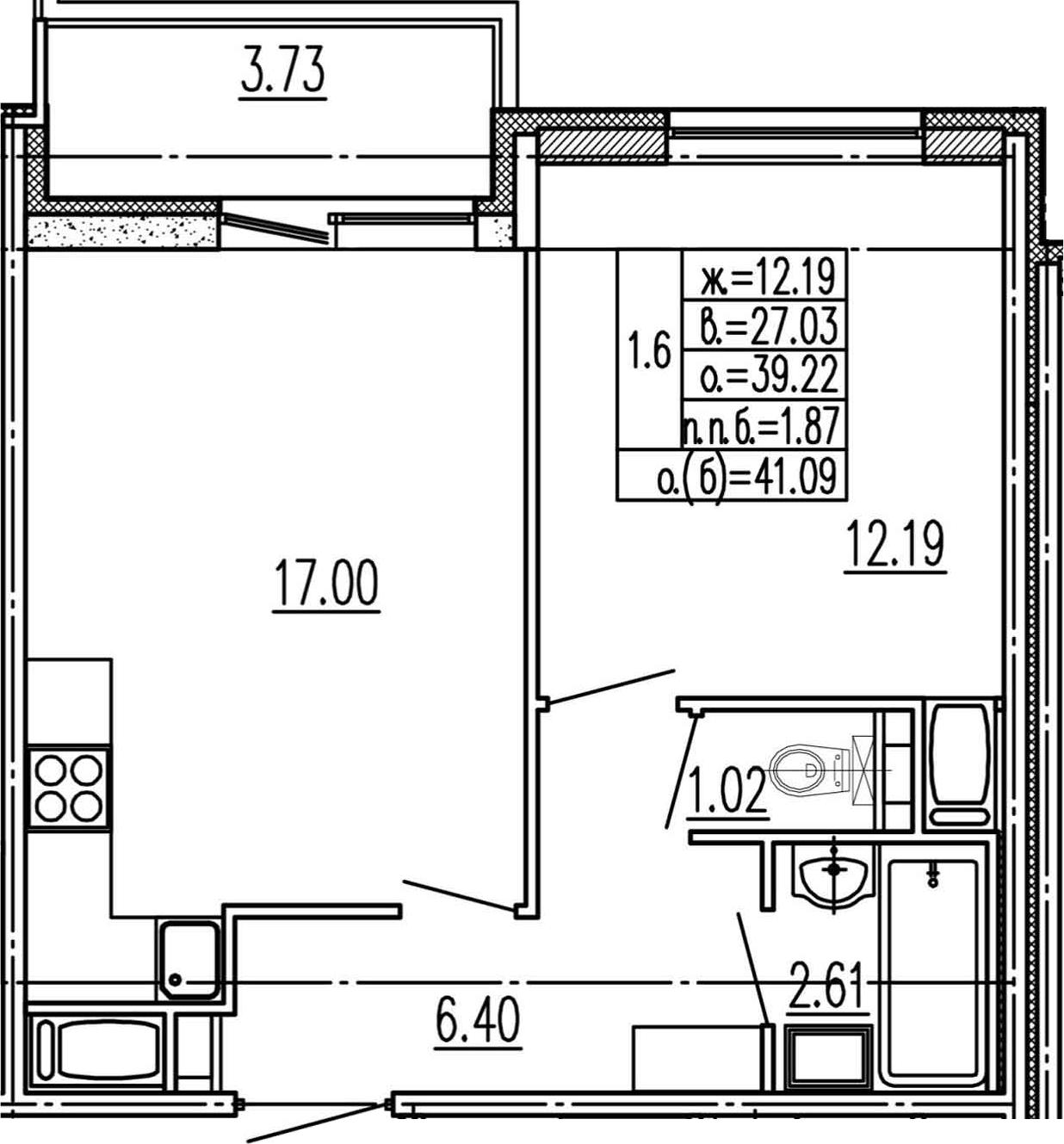 2Е-к.кв, 39.22 м², 12 этаж