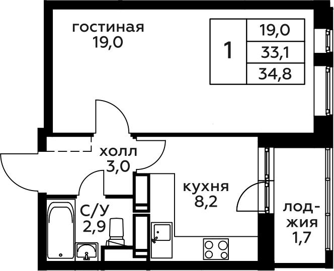 1-комнатная, 34.8 м²– 2