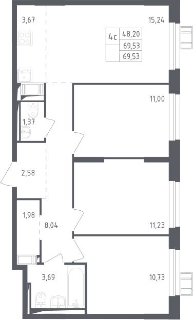 4Е-к.кв, 69.53 м²
