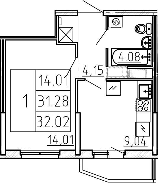 1-к.кв, 33.75 м²