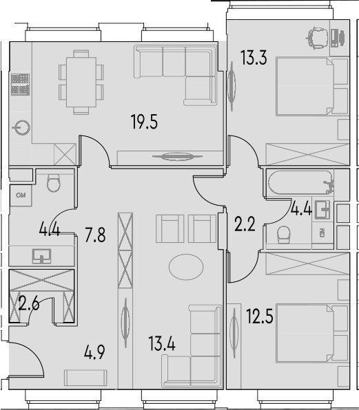 4Е-к.кв, 85 м²