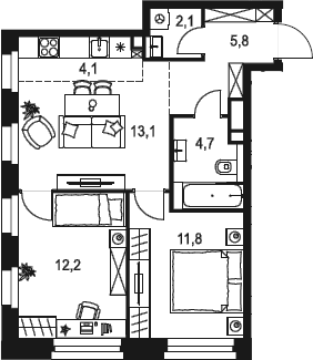 3Е-к.кв, 53.8 м²