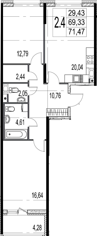 2-комнатная, 69.33 м²– 2