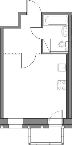 Студия, 28.06 м², от 3 этажа