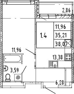 2Е-комнатная, 38.07 м²– 2