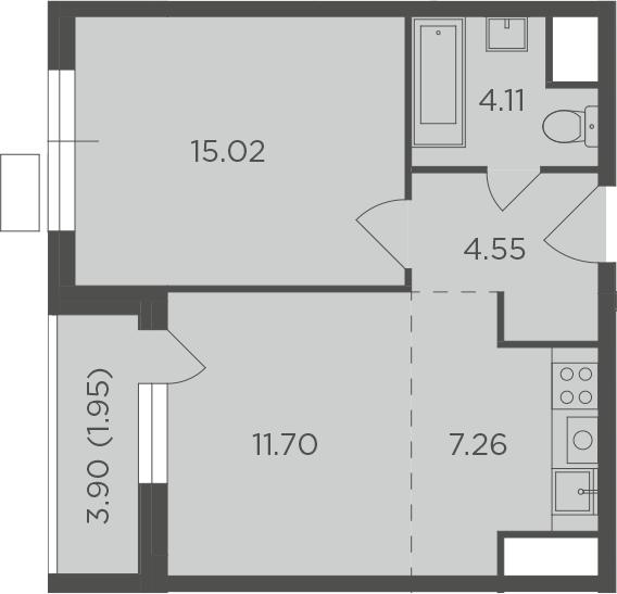 2Е-к.кв, 44.59 м², от 4 этажа