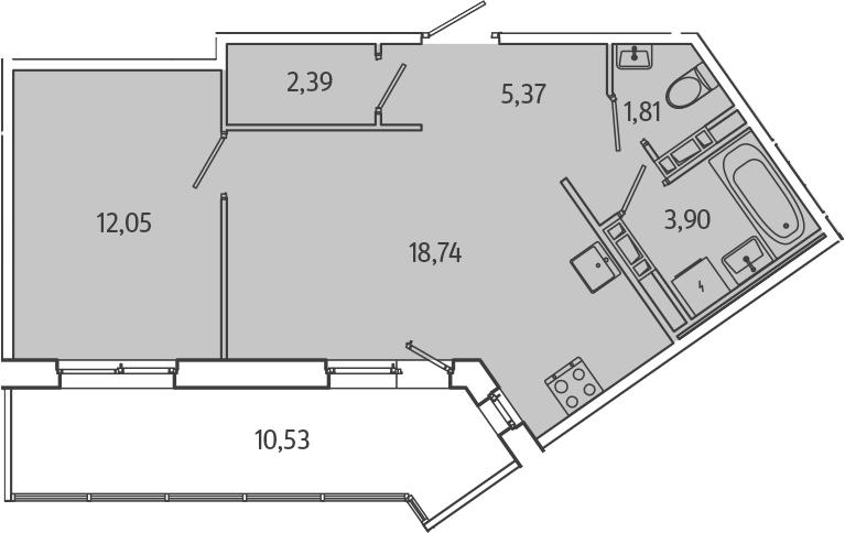 2Е-комнатная, 49.53 м²– 2