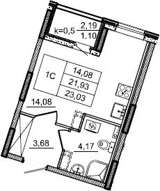 Студия, 23.03 м², 2 этаж