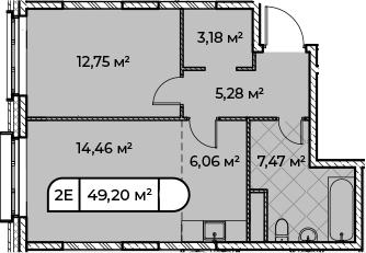 2Е-комнатная, 49.2 м²– 2