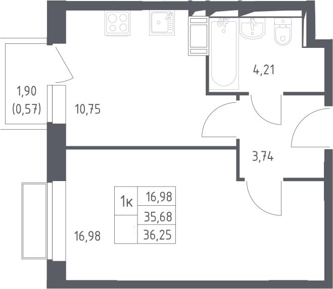 1-комнатная, 36.25 м²– 2
