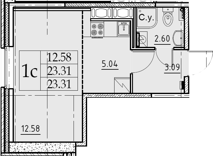 Студия, 23.31 м²– 2