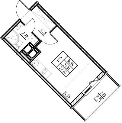 Студия, 21.01 м²– 2