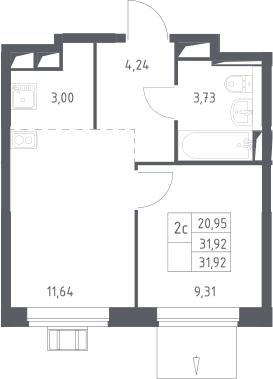 2Е-к.кв, 31.92 м²