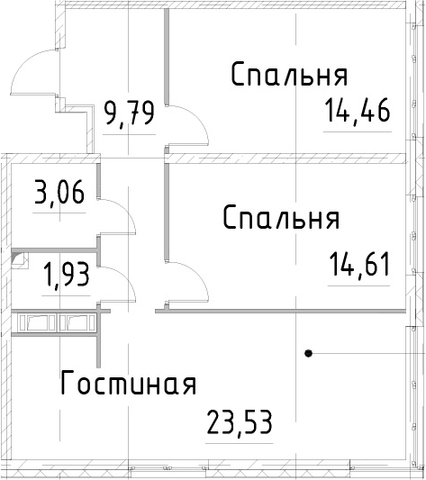 3Е-к.кв, 67.37 м², 21 этаж