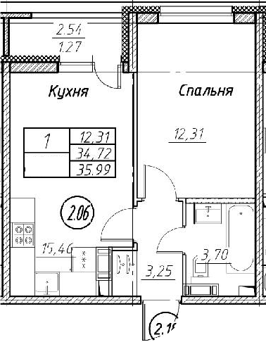 2Е-к.кв, 35.99 м², 6 этаж