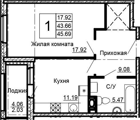 1-к.кв, 47.72 м²