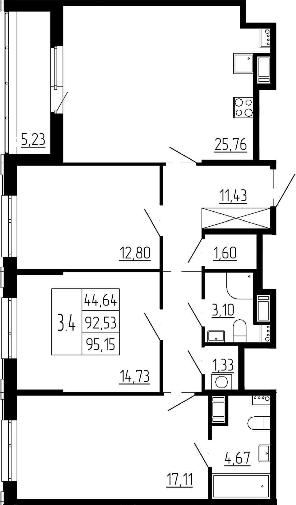4Е-комнатная, 92.53 м²– 2
