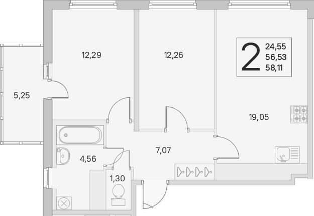 3Е-к.кв, 56.53 м², от 3 этажа