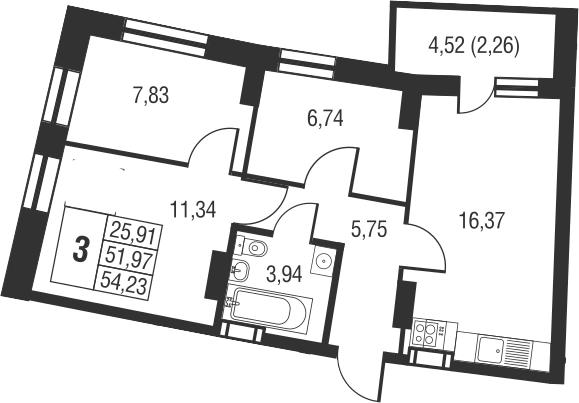 4Е-комнатная, 54.23 м²– 2