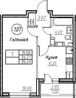 1-к.кв, 35.49 м², от 16 этажа