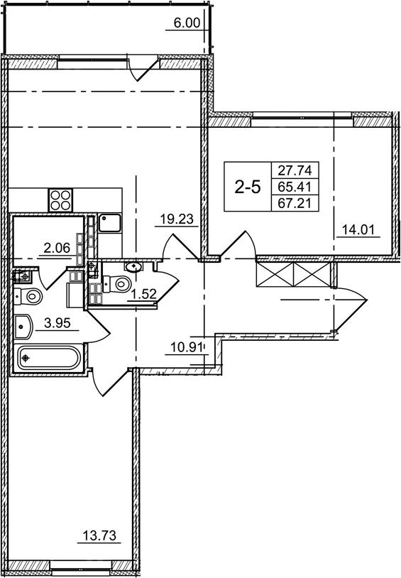 3Е-комнатная, 65.41 м²– 2
