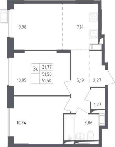 3Е-к.кв, 51.5 м², 15 этаж