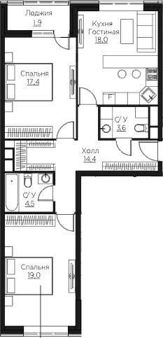 3Е-комнатная квартира, 78.8 м², 3 этаж – Планировка