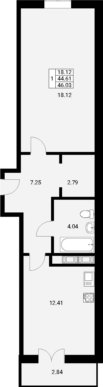1-к.кв, 47.45 м²