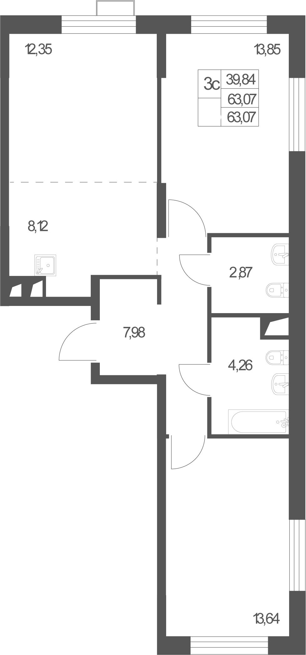 3Е-к.кв, 63.07 м²