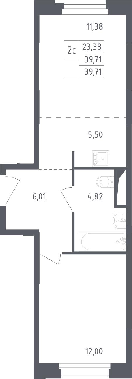 2Е-комнатная, 39.71 м²– 2