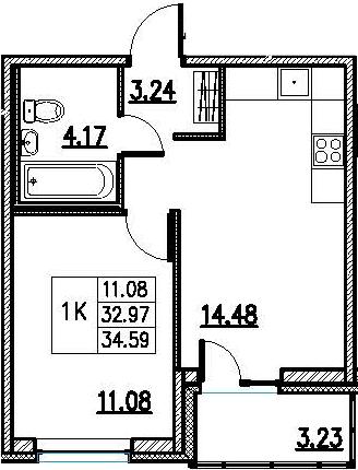 2Е-комнатная, 34.59 м²– 2