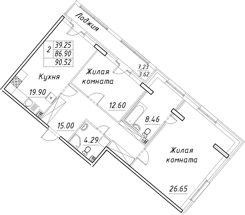 3-к.кв (евро), 94.14 м²