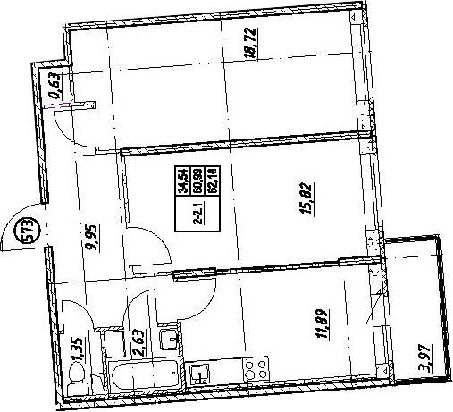 2-комнатная, 62.18 м²– 2