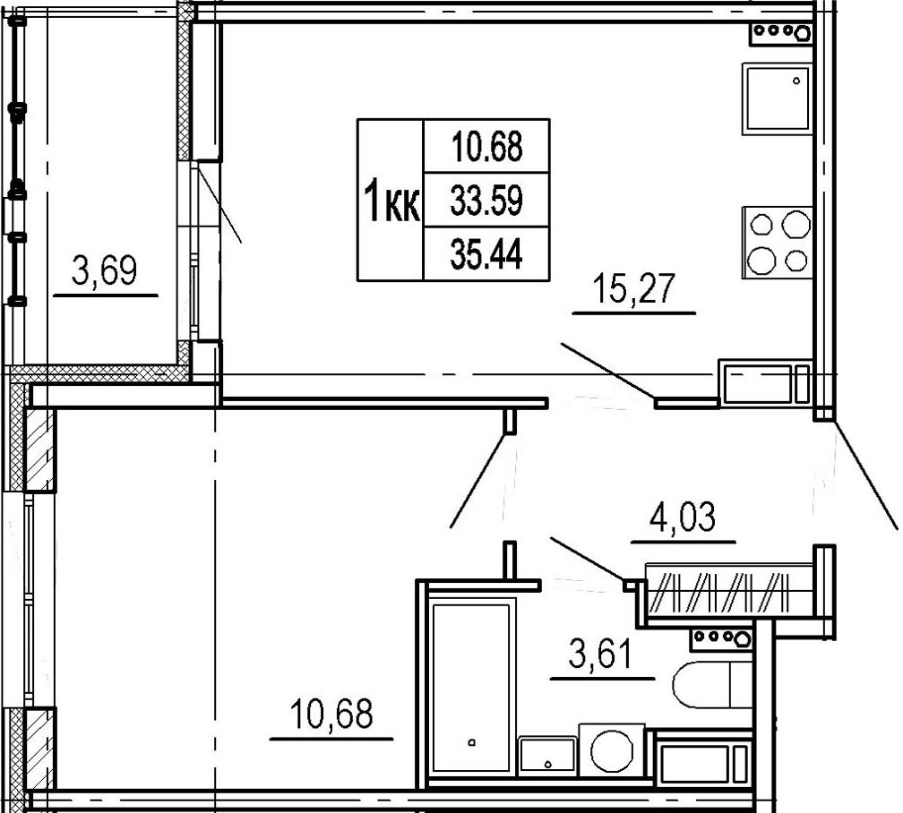 2Е-к.кв, 33.59 м²