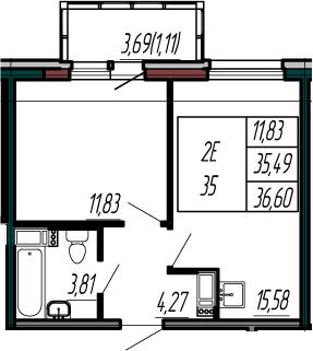 2-к.кв (евро), 39.18 м²