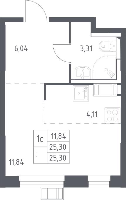 Студия, 25.3 м², 13 этаж – Планировка
