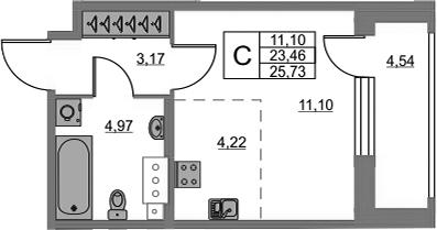 Студия, 23.46 м²