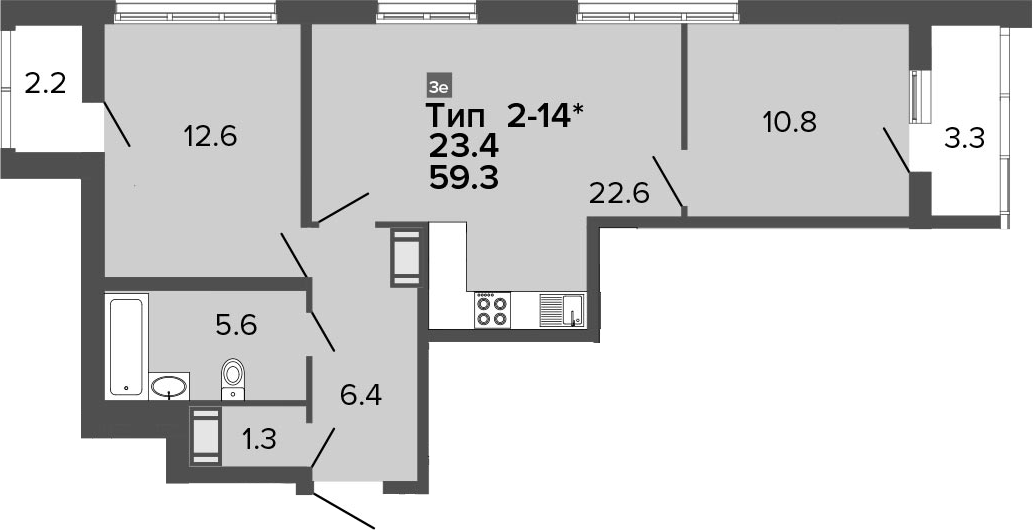 3Е-к.кв, 59.3 м², от 15 этажа